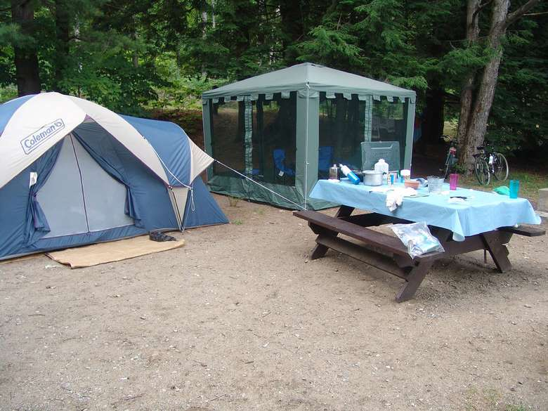 tents and a picnic table