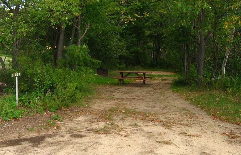 picnic table at campsite