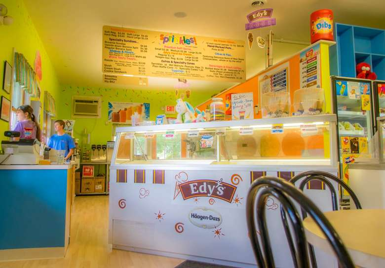 inside ice cream store