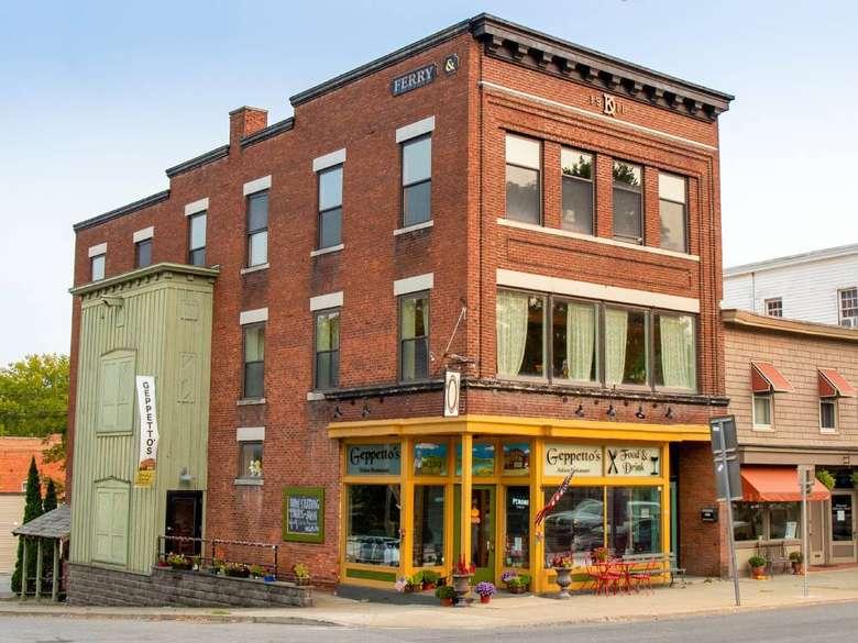 exterior of a brick restaurant