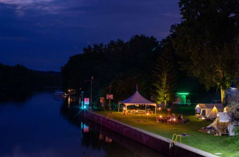 campground on the waterfront in the evening