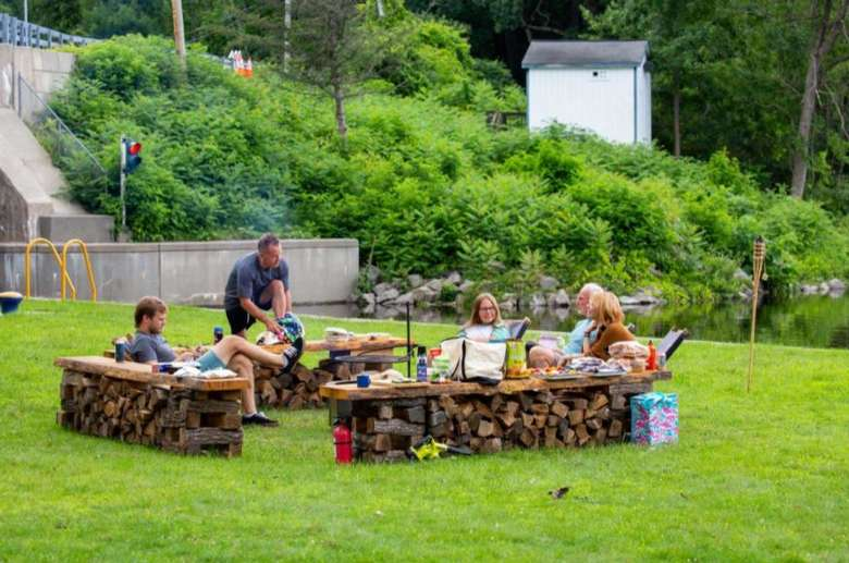outdoor seating area at a campground
