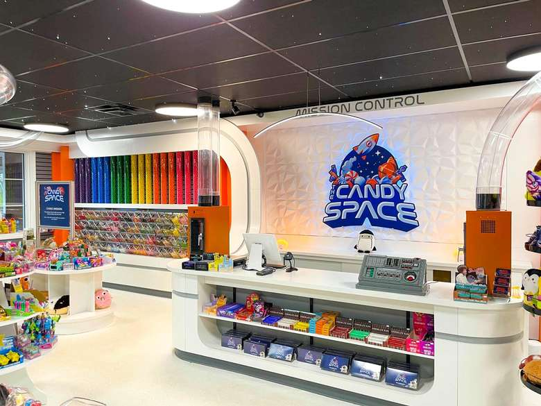 candy space logo near front desk in a candy store