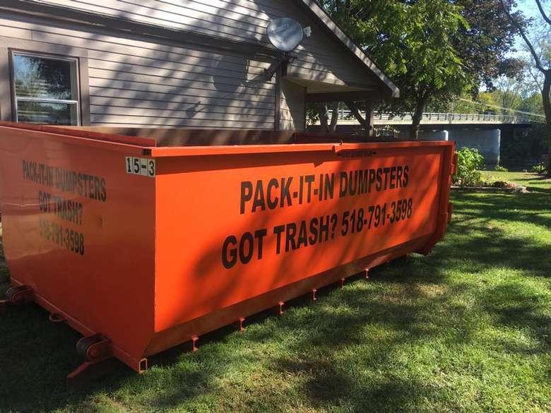 orange dumpster