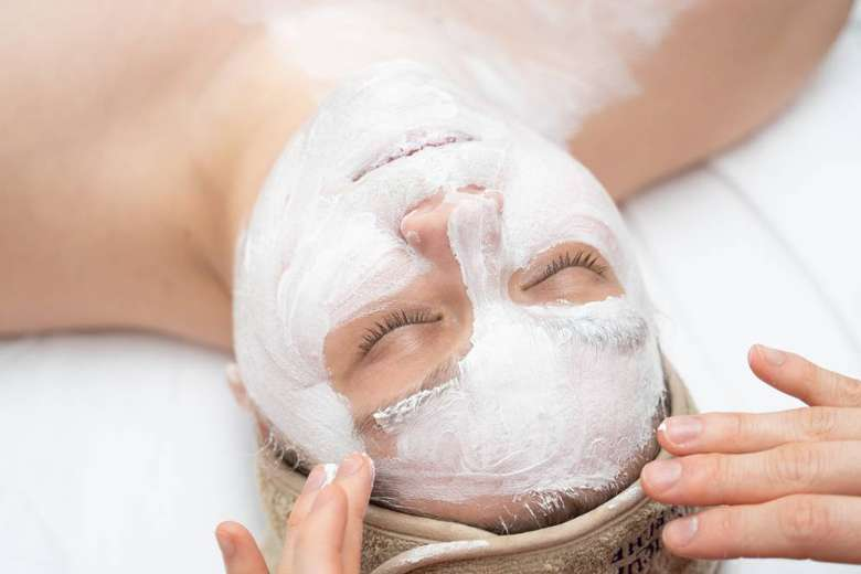facial treatment on woman