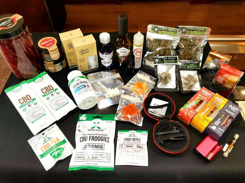 cbd products on a table