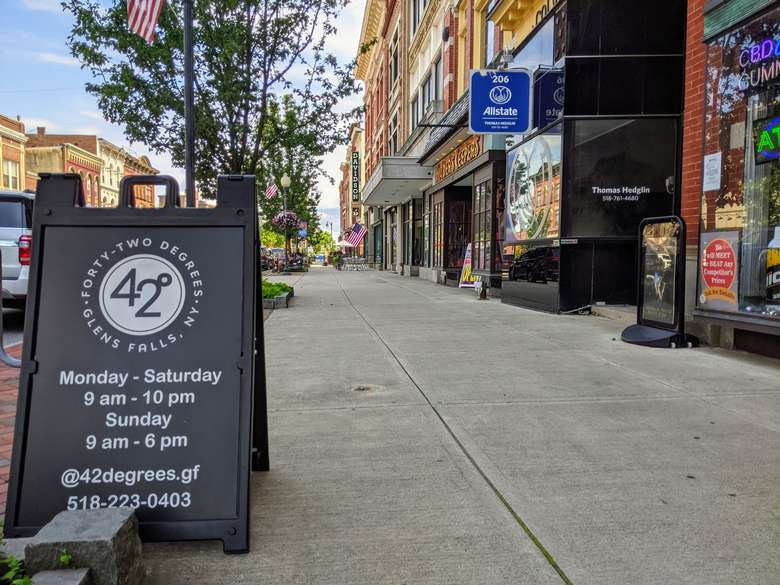 42 Degrees sign outside store