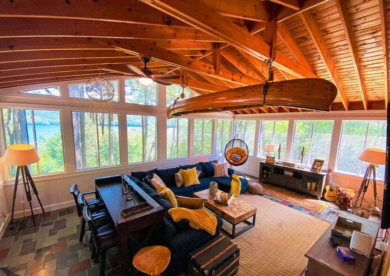 spacious, high-ceilinged living room