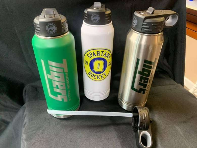three water bottles with color printed logos