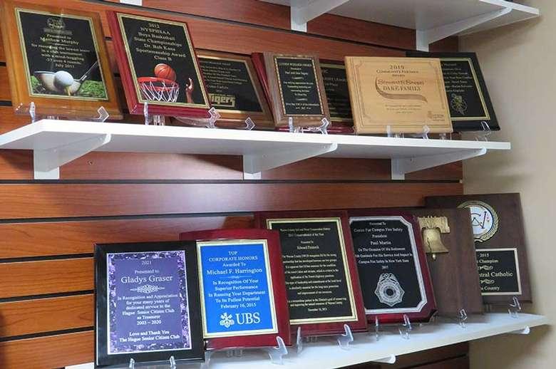award plaques on display