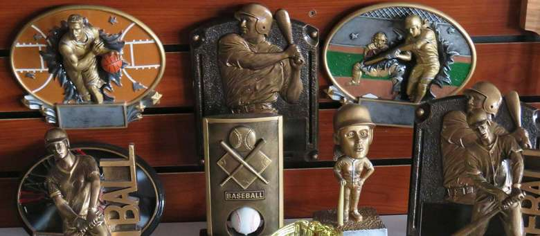 sports themed trophies