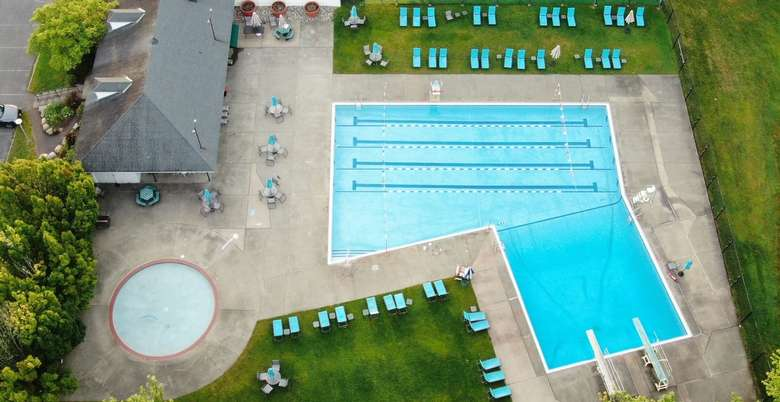 aerial shot of a pool