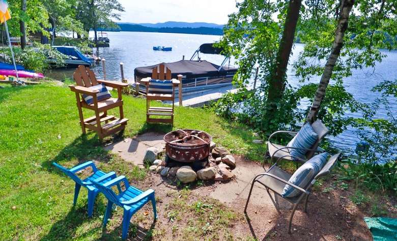 outdoor seating area by lake