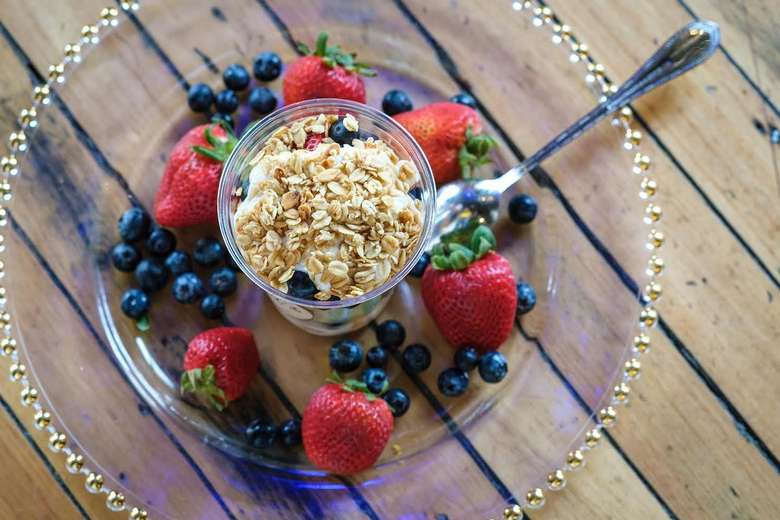 oats, blueberries, and strawberries