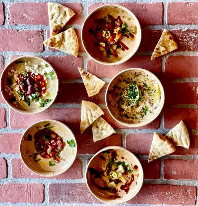 hummus bowls and pitas