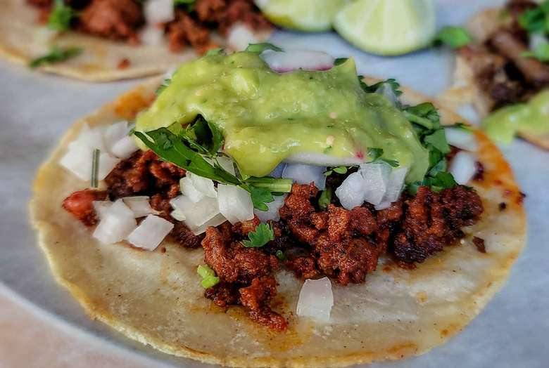 close up view of an open taco