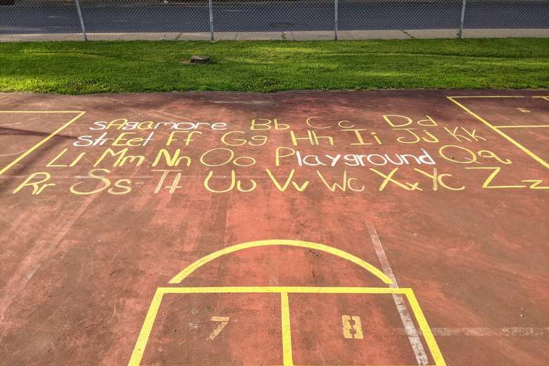 chalk on court