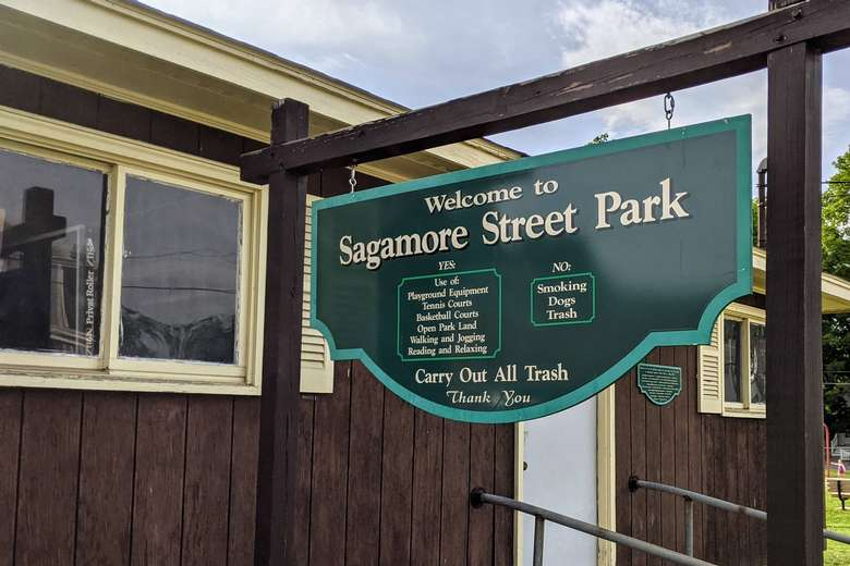 Sagamore Street Park sign and rules
