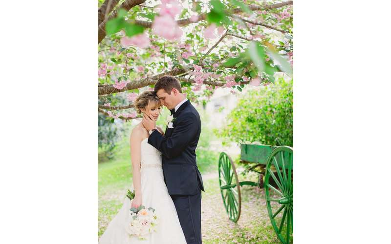 Flowering trees make for gorgeous outdoor photos!  Photo by Rebecca Keeling Studios