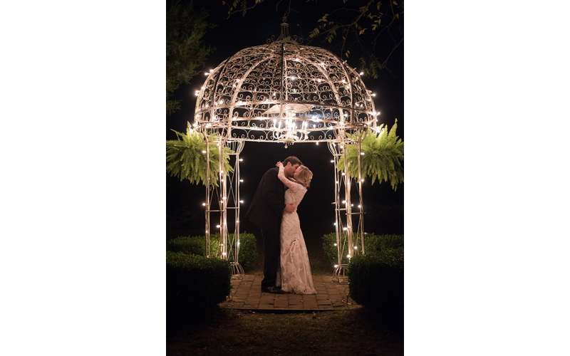 Our illuminated gazebo is perfect for captivating night photos. Photo by Rowlands Photography