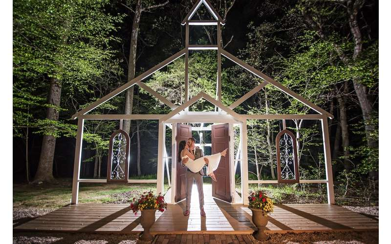 Our NEW Chapel is the woods is another option for your ceremony. Photo by Lindsey Lyons Photography