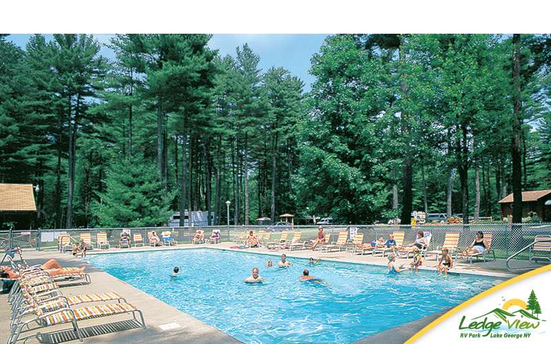 Cool off during the summer at the large outdoor pool!