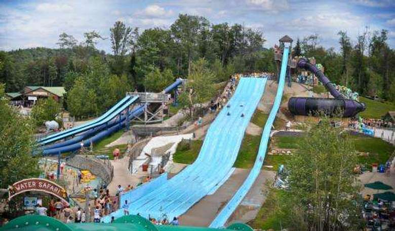 view of three water slides from a distance