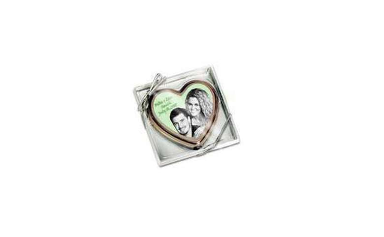 Silver square with heart and image inside