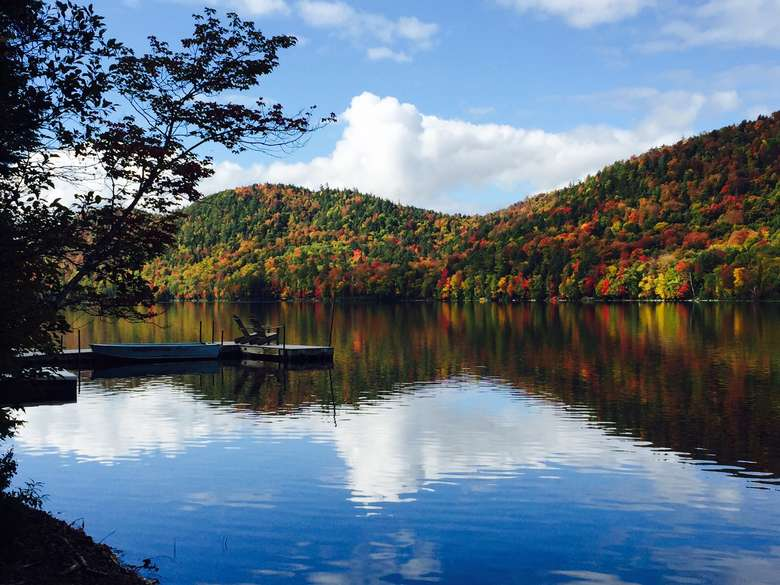 mountain and lake view with colorful fall foliage on the trees