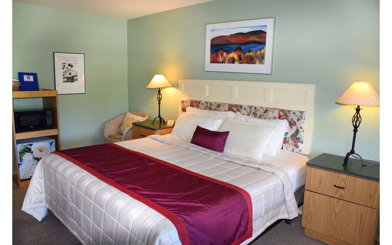 a king size bed in a guest room with two lamps
