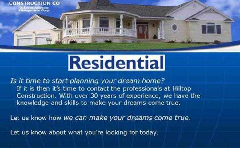 Slide about residential home building