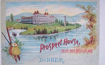 old fashioned color image of prospect house blue mountain lake