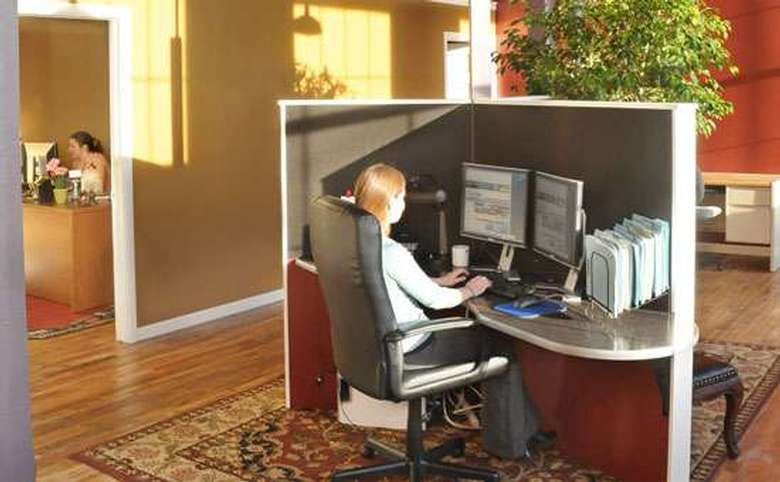 sunny back office with employee desk area and separate office