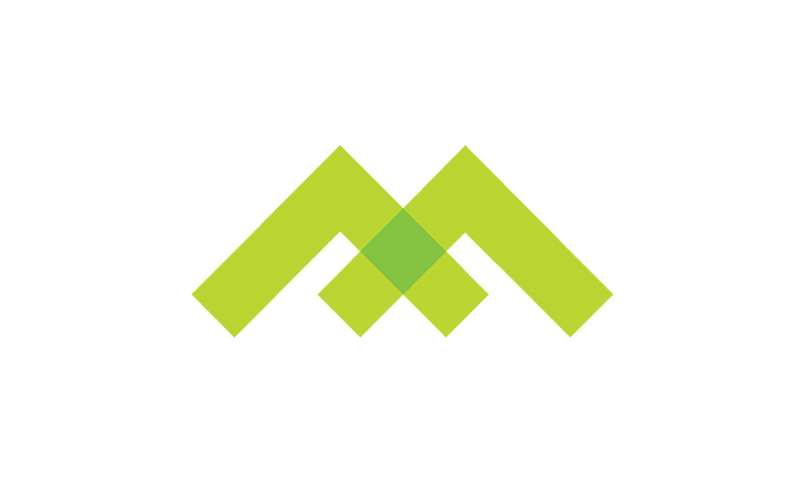 a green and yellow m logo
