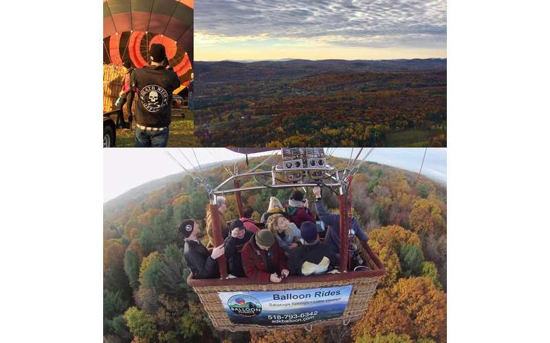 three images showcasing autumn trees and a hot air balloon
