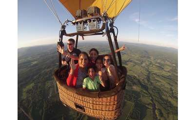 a small group in a hot air balloon basket