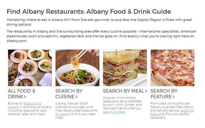 albany.com dining section