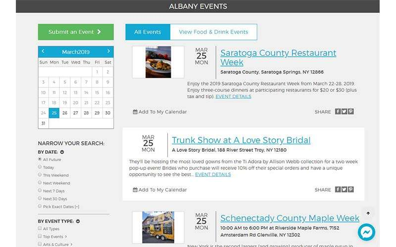 events calendar on albany.com