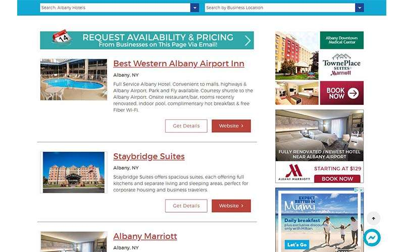 list of lodging properties on albany.com