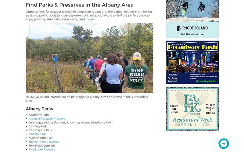parks page on albany.com