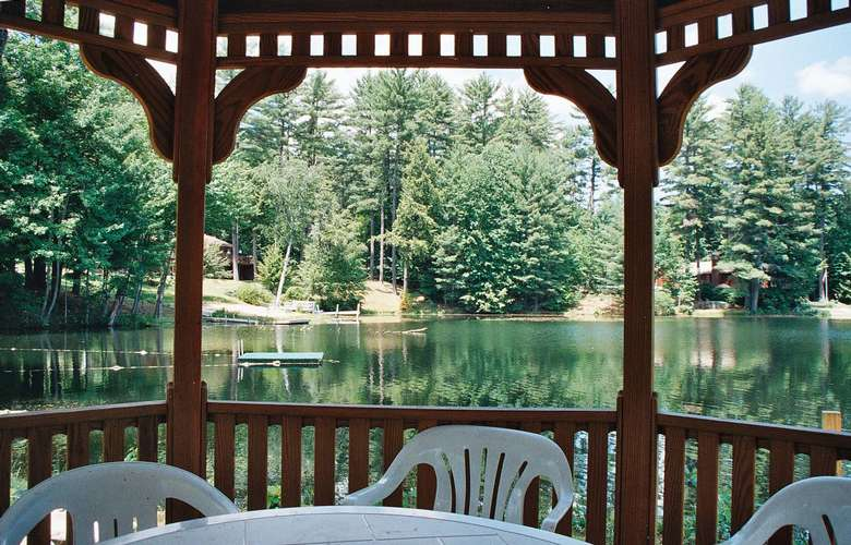 view of water from what looks like a gazebo