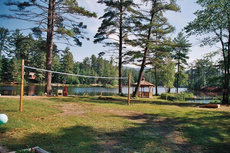 a volleyball net on the property
