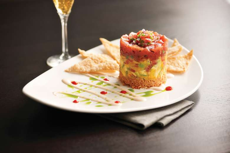 tuna tartar tower with crispy chips