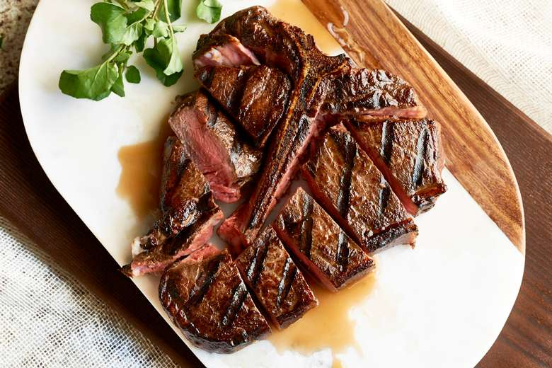 t-bone steak sliced into strips