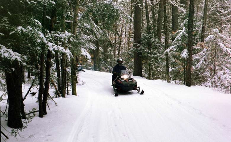 person snowmobiling through the snowy woods