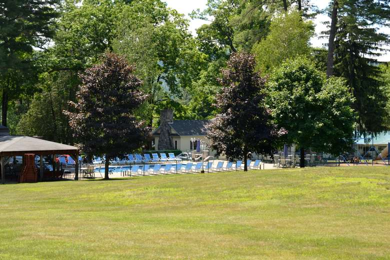 view of pool from far away