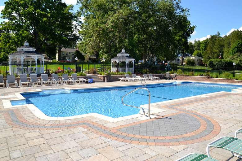 an outdoor pool