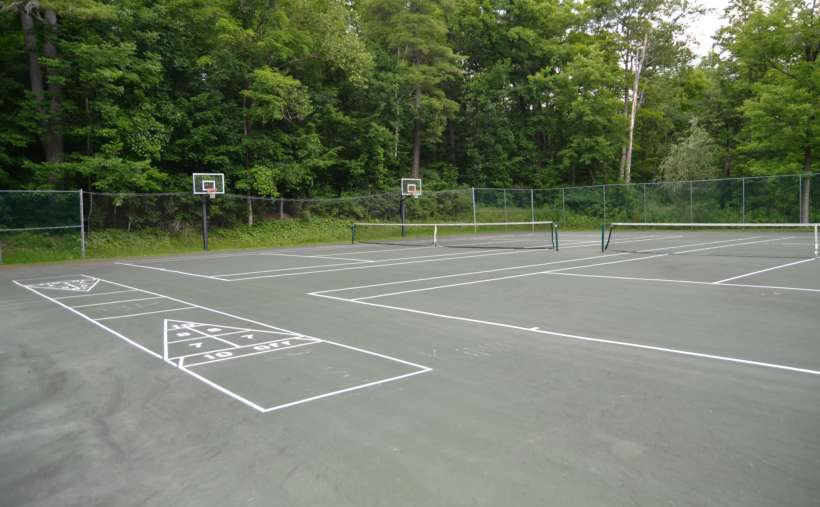 tennis court and shuffleboard court