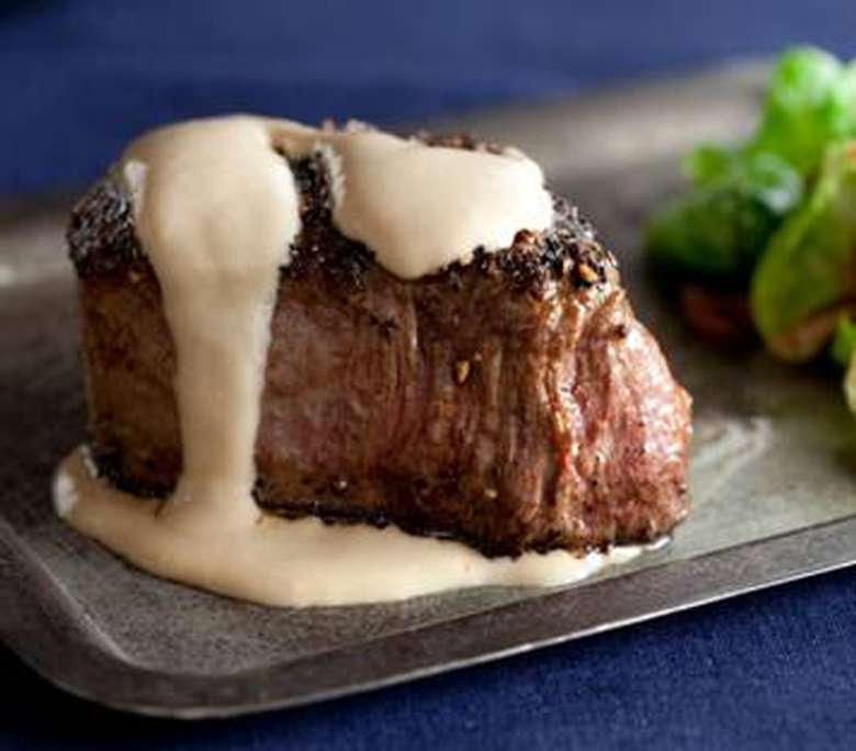 filet with sauce on top