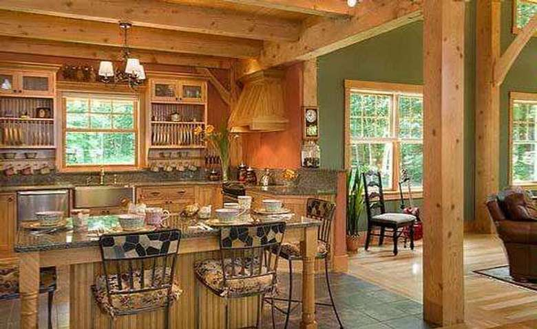 kitchen with wooden beams across the ceiling